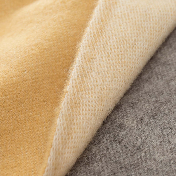 Salakas wool blanket mustard & cream, 100% new wool | High quality homewares