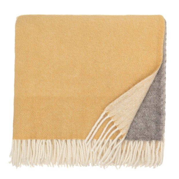 Salakas blanket, mustard & cream, 100% new wool