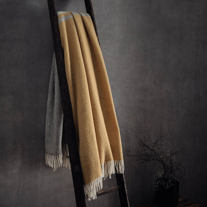 Salakas wool blanket in mustard & cream | Home & Living inspiration | URBANARA
