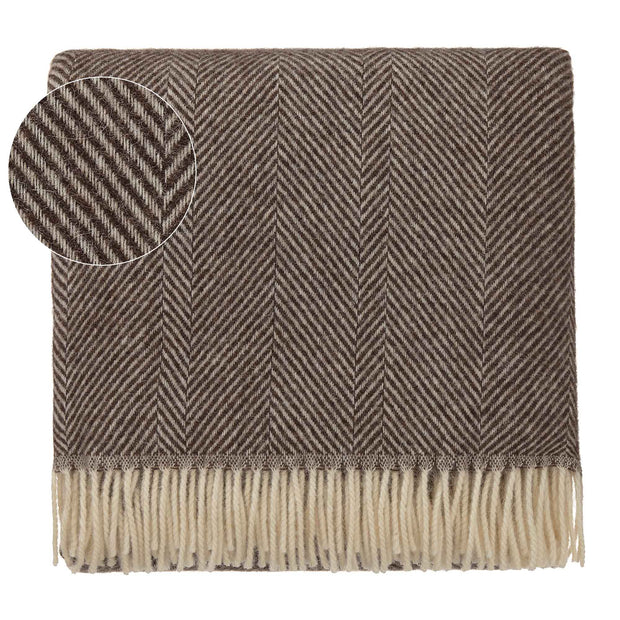 Salantai blanket, dark brown & cream, 100% new wool