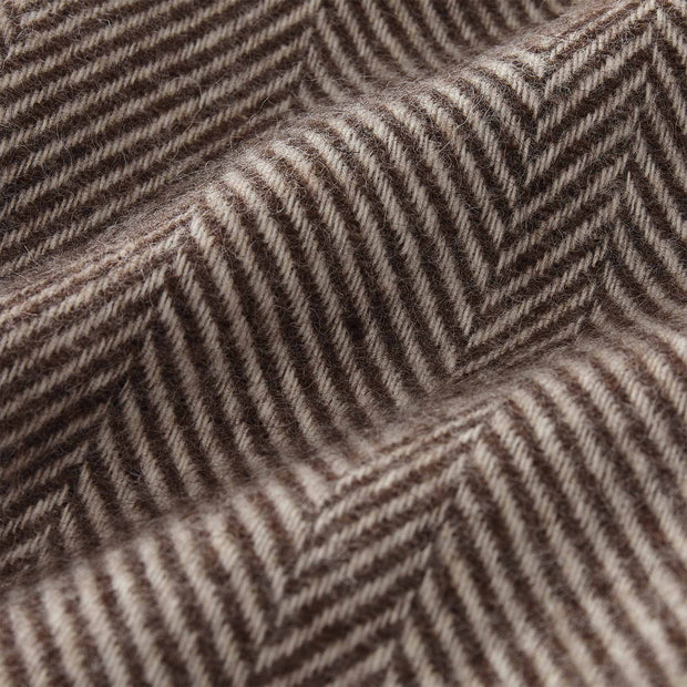 Salantai blanket, dark brown & cream, 100% new wool |High quality homewares