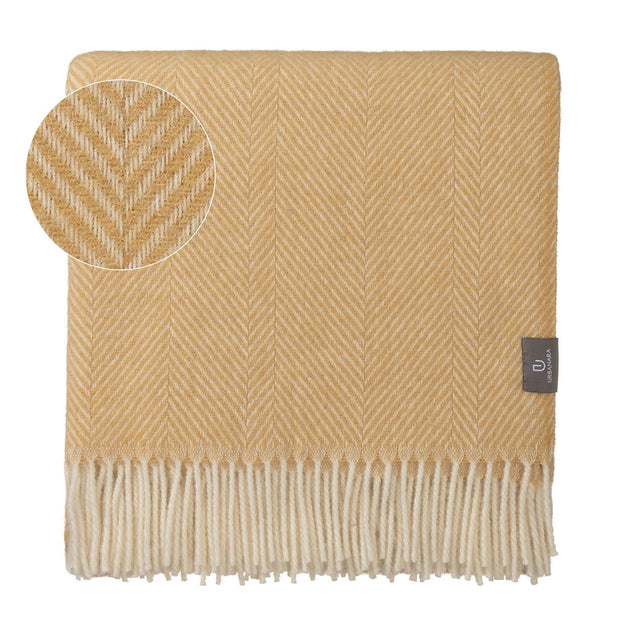 Salantai blanket, mustard & cream, 100% new wool
