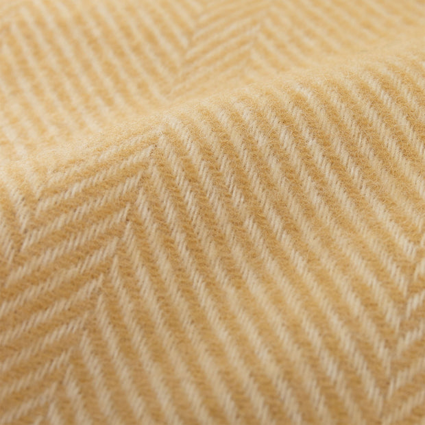 Salantai Wool Blanket mustard & cream, 100% new wool | High quality homewares