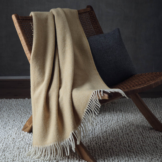 Salantai Wool Blanket in mustard & cream | Home & Living inspiration | URBANARA