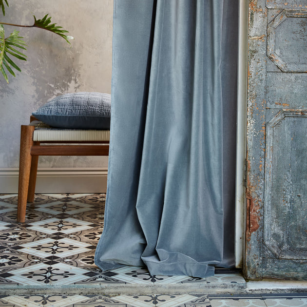 Samana Velvet Curtain in green grey | Home & Living inspiration | URBANARA