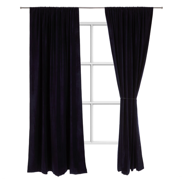 Samana Velvet Curtain dark blue, 100% cotton