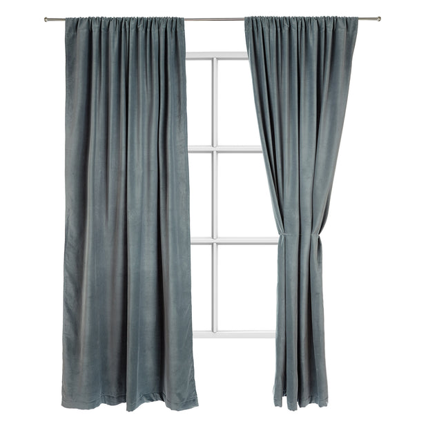 Samana Velvet Curtain green grey, 100% cotton