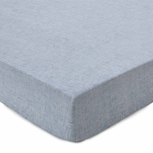Sameiro fitted sheet, dark grey blue, 100% linen
