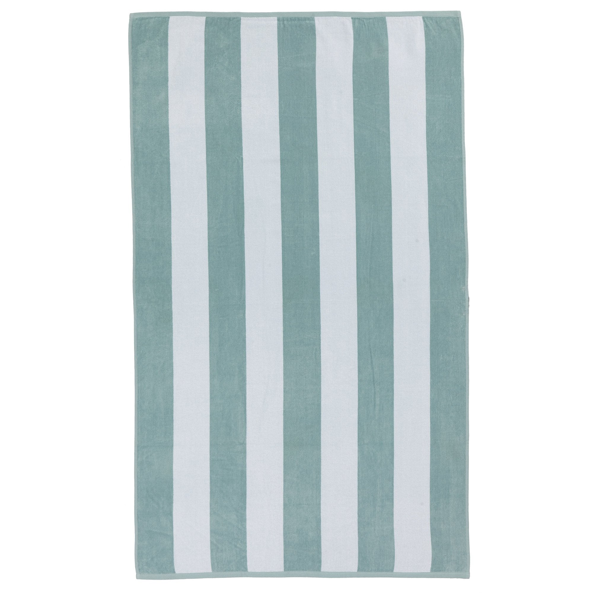 Serena beach towel, light grey green & white, 100% cotton