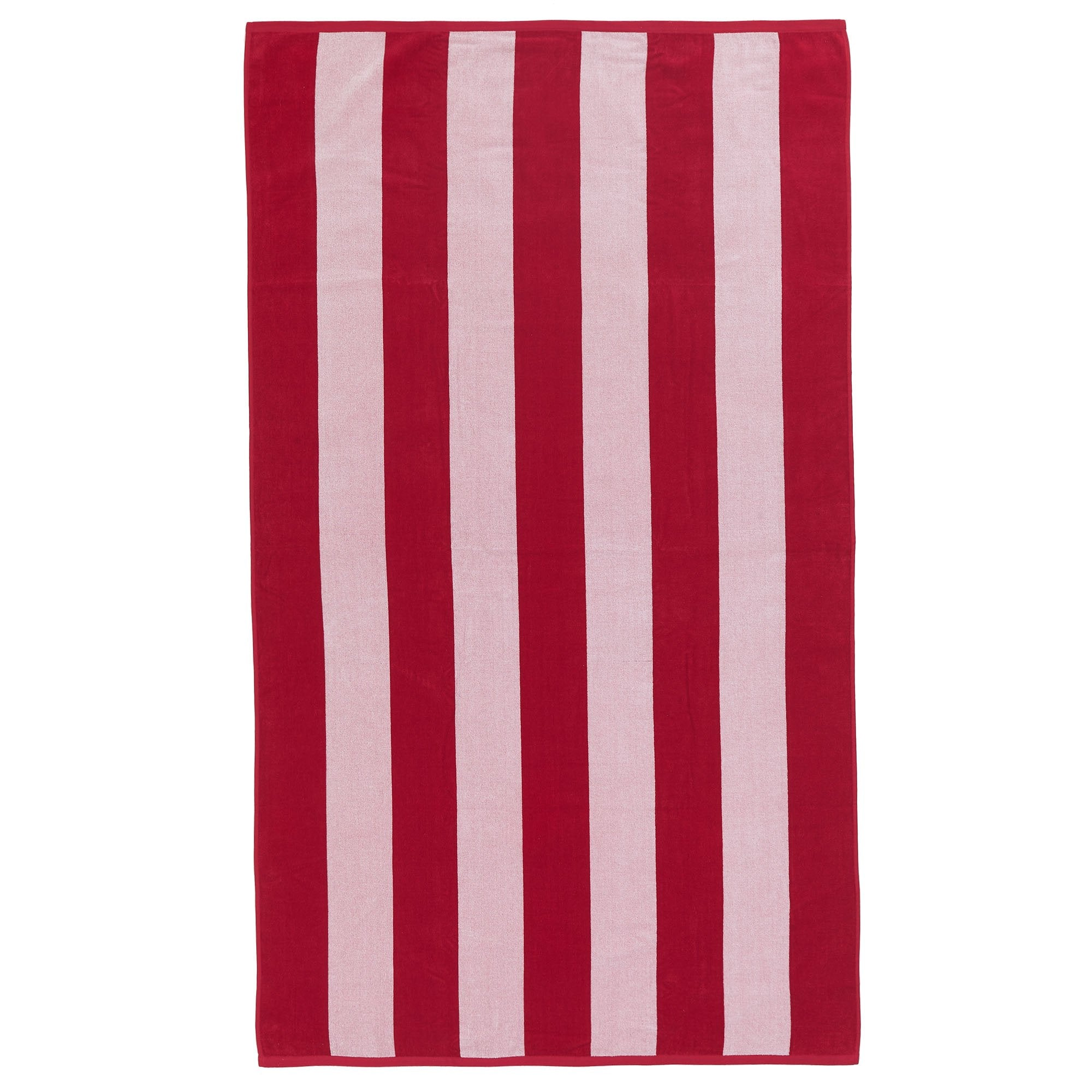 Serena beach towel, red & white, 100% cotton