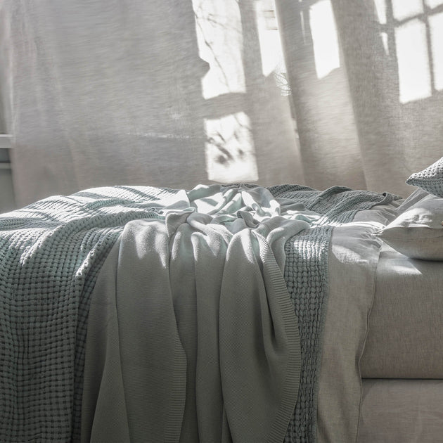 Salicos Blanket in light green grey | Home & Living inspiration | URBANARA