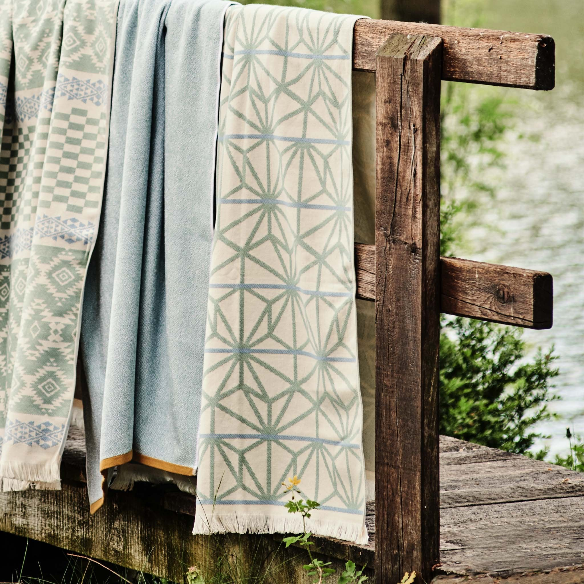 Arade Beach Towel in natural white & light grey green & light grey blue | Home & Living inspiration | URBANARA