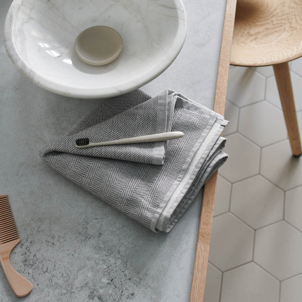 Ilhavo Beach Towel in charcoal & natural white | Home & Living inspiration | URBANARA