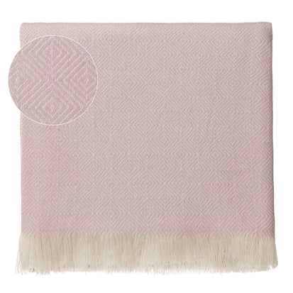 Uyuni blanket, powder pink & cream, 100% cashmere wool
