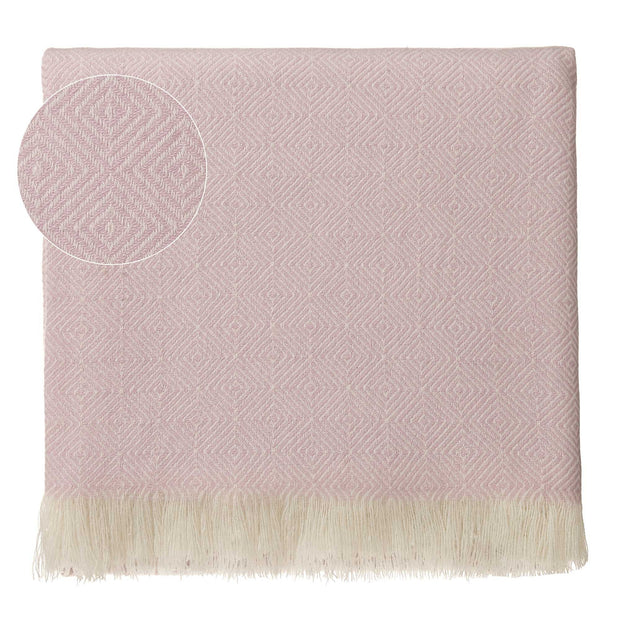 Uyuni Cashmere Blanket powder pink & cream, 100% cashmere wool