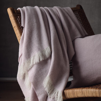 Uyuni Cashmere Blanket in powder pink & cream | Home & Living inspiration | URBANARA