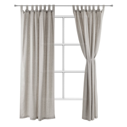 Vinstra Curtain Set grey & natural white, 100% linen
