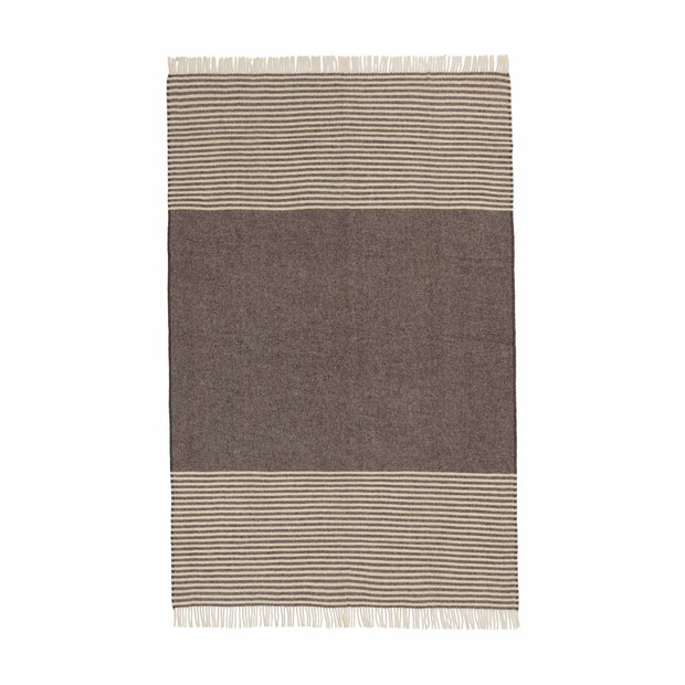 Visby Wool Blanket brown & cream, 100% new wool | URBANARA wool blankets