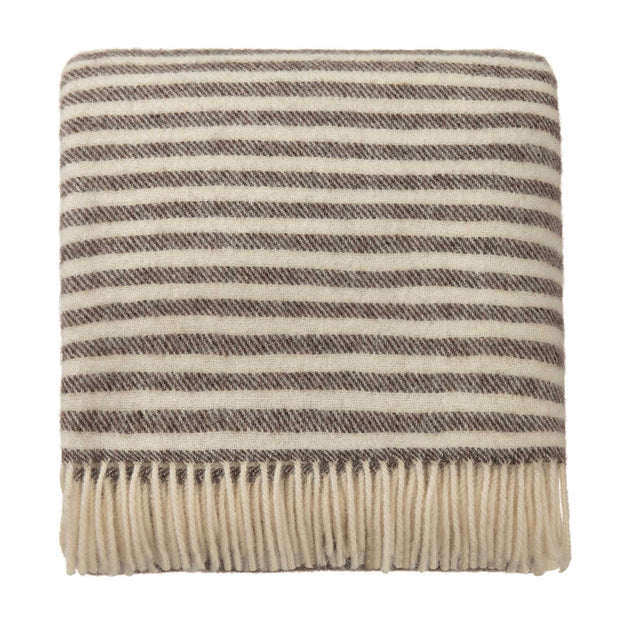 Visby Wool Blanket brown & cream, 100% new wool