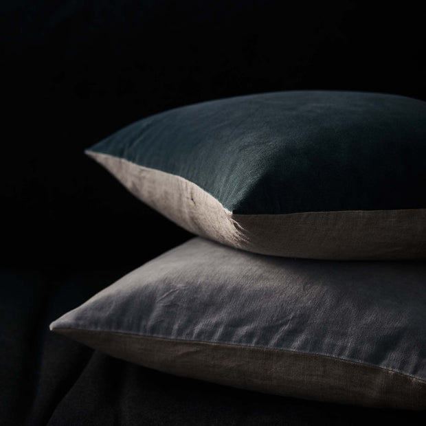 Amreli cushion, teal & natural, 100% cotton & 100% linen |High quality homewares