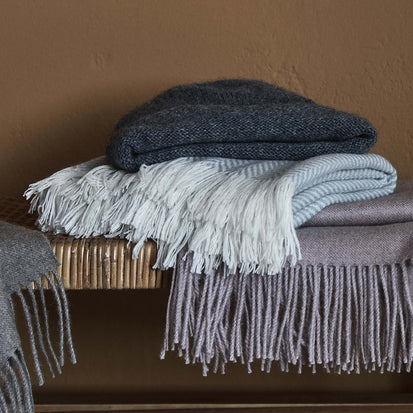 Nerva Cashmere Blanket in light grey & cream | Home & Living inspiration | URBANARA