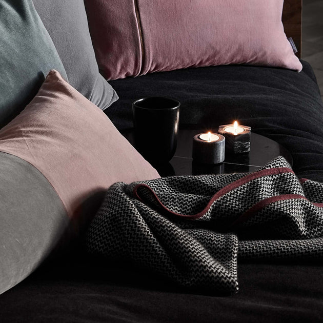 Foligno Cashmere Blanket in black & cream & raspberry rose | Home & Living inspiration | URBANARA