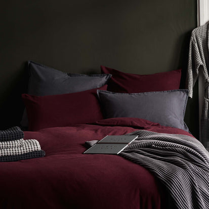 Montrose Flannel Bed Linen in bordeaux red | Home & Living inspiration | URBANARA