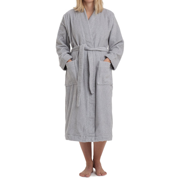 Ventosa Organic Cotton Bathrobe [Grey/White]