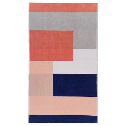 Vigo beach towel, ultramarine & light pink & papaya, 100% cotton
