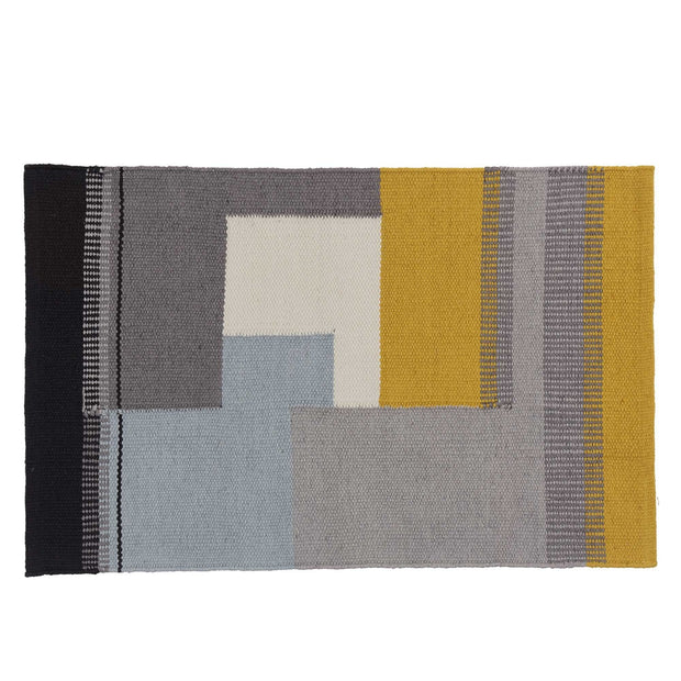 Indari doormat, grey & ice blue & bright mustard, 100% pet