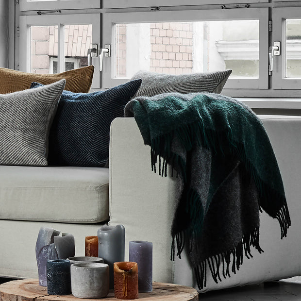 Karby Wool Blanket [Dark green/Grey melange]