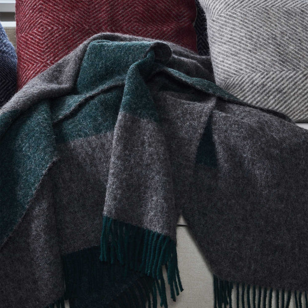 Karby Wool Blanket dark green & grey melange, 100% new wool | High quality homewares