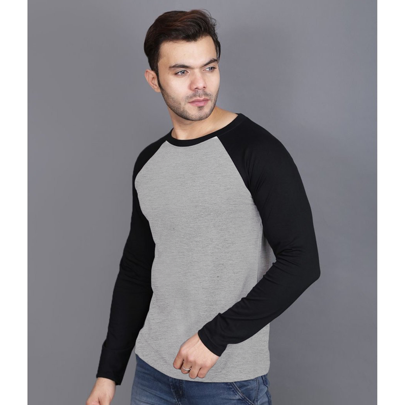 Plain Grey/Black Raglan T-Shirt