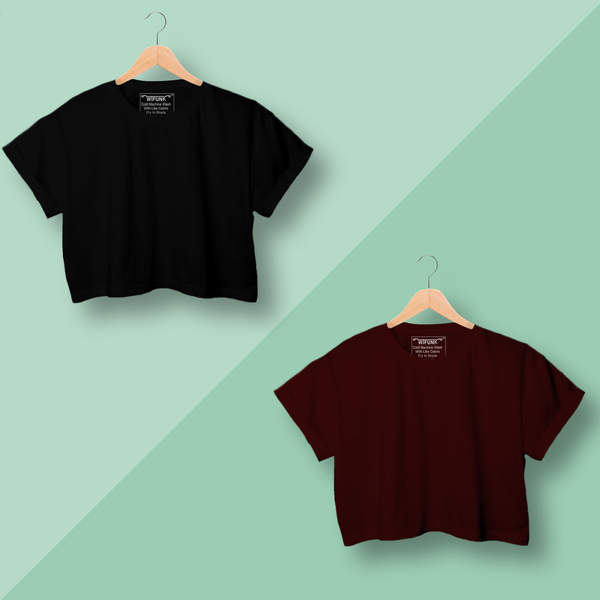 Black/Maroon Cotton Combo Crop Tops for Women Pack of 2