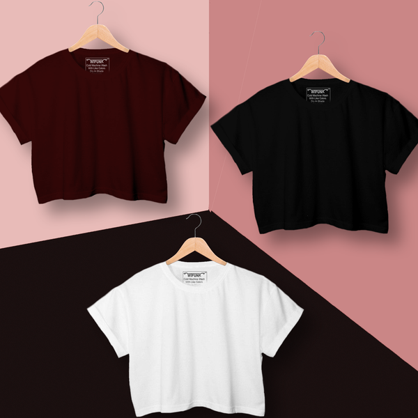 Black/Maroon/White Cotton Combo Crop Tops for Women Pack of 3