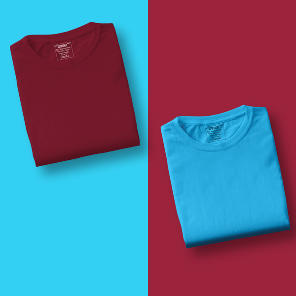 Maroon/SkyBlue - Pack of 2 T-Shirts