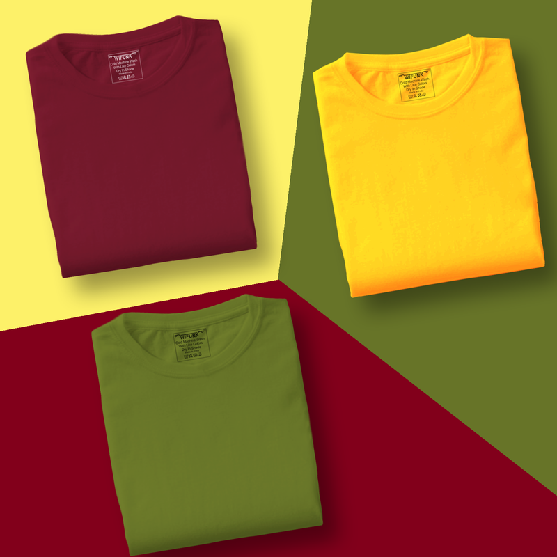 Maroon/Yellow/Green - Pack of 3 T-Shirts