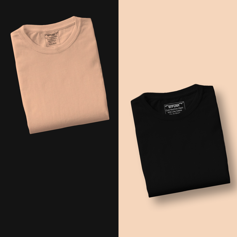 Peach/Black - Pack of 2 T-Shirts