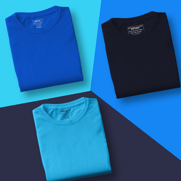 Royal Blue/Navy Blue/Sky Blue - Pack of 3 T-Shirts