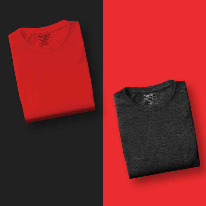 Red/Dark Grey Melange - Pack of 2 T-Shirts