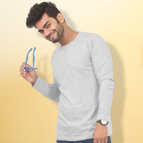 Plain Grey Melange Full Sleeve T-Shirt