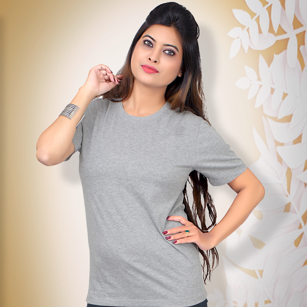 Plain Grey Melange Half Sleeve T-Shirt
