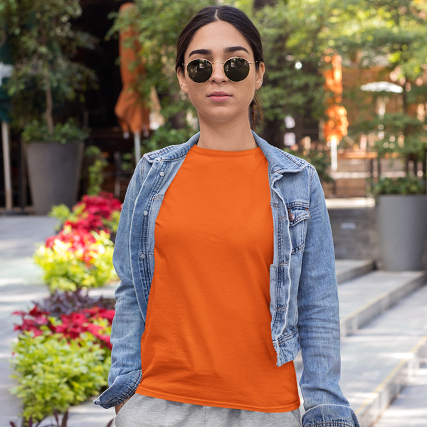 Plain Orange Half Sleeve T-Shirt
