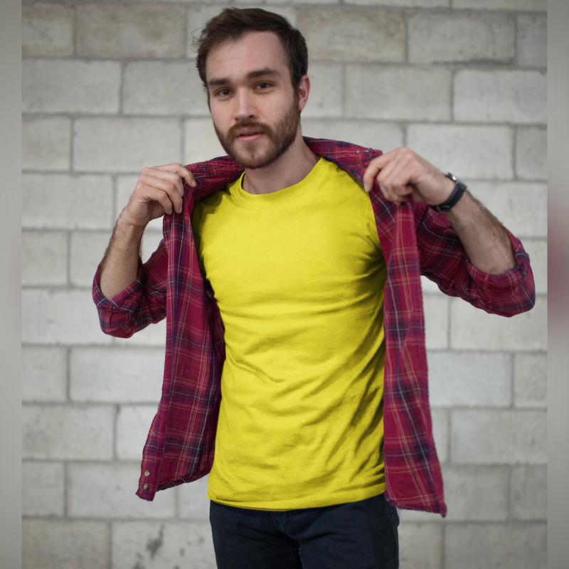 Plain Yellow Half Sleeve T-Shirt
