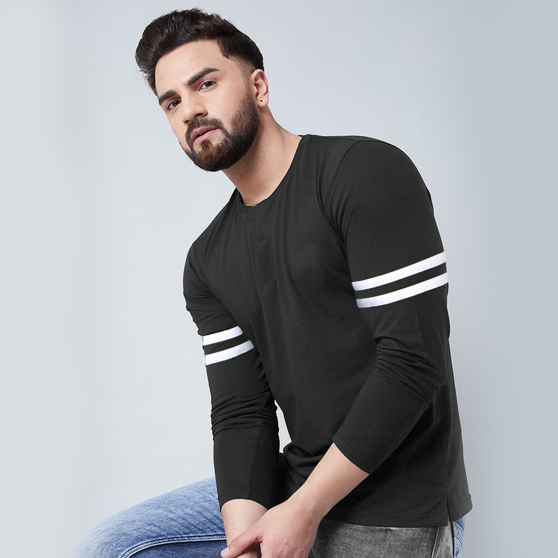 Plain Black Stripe Full Sleeve T-Shirt