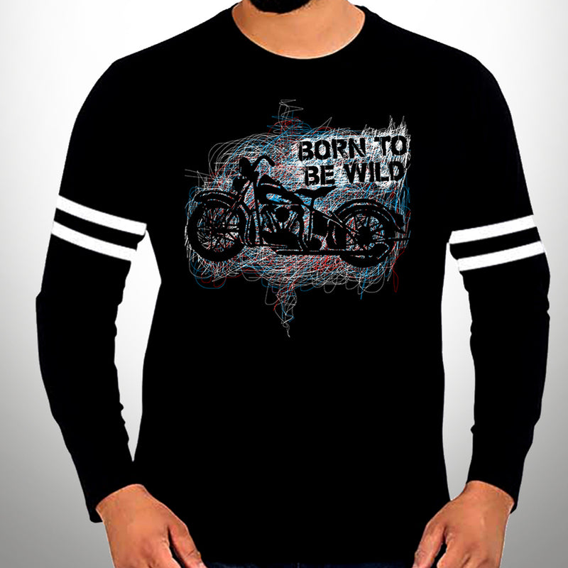Born To Be Wild Full Sleeve Stripe T-Shirt - WTFUNK