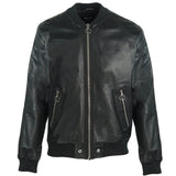 Diesel L-Pins Black Leather Bomber Jacket