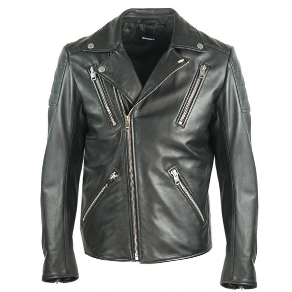 Diesel R-Pusmir Black Leather Biker Jacket