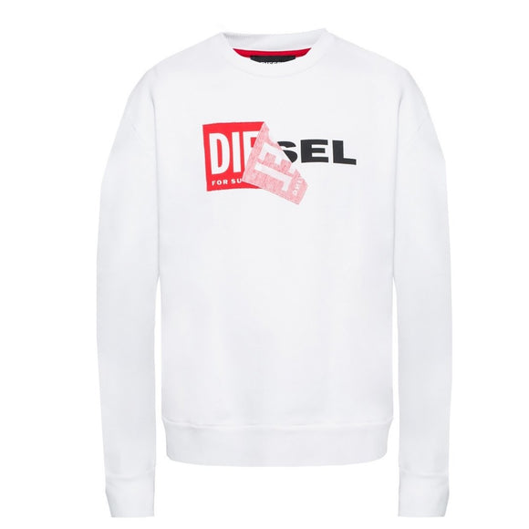 Diesel S-SAMY Peeled Box Logo White Sweatshirt