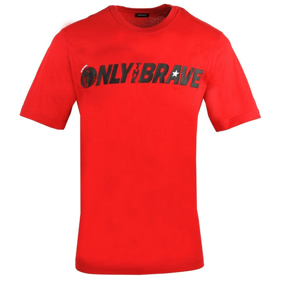 Diesel T-Just-SV Only The Brave Logo Red T-Shirt